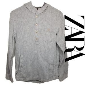 ZARA BOYS hooded half button shirt size 13-14